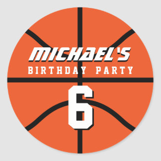 Orange Basketball Sticker Sports Birthday Party