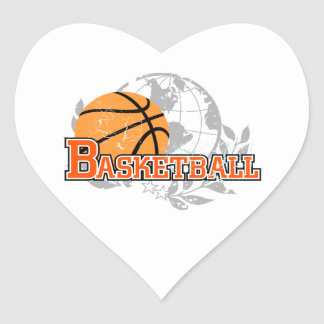 Orange Basketball T-shirts and Gifts Heart Sticker