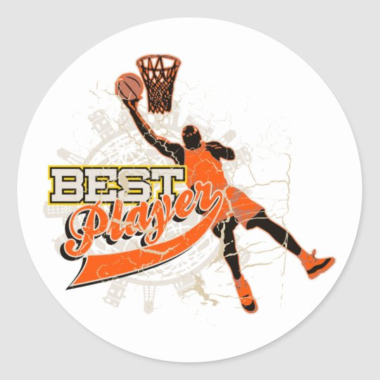 Orange Basketball Tshirts and Gifts Classic Round Sticker