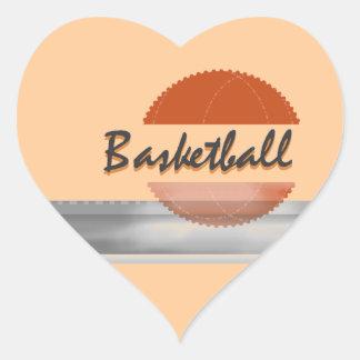Orange Basketball Tshirts and Gifts Heart Sticker