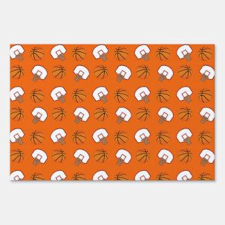 Orange basketballs and nets pattern yard sign