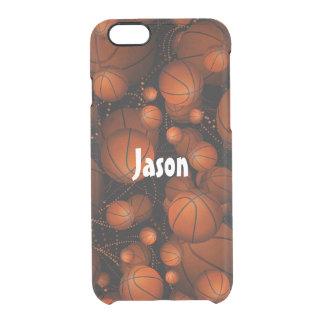 Orange basketballs bouncing everywhere name black clear iPhone 6/6S case