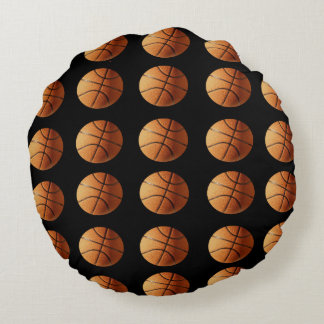 Orange_Basketballs_On_Black,_Lounge_Cushion. Round Pillow