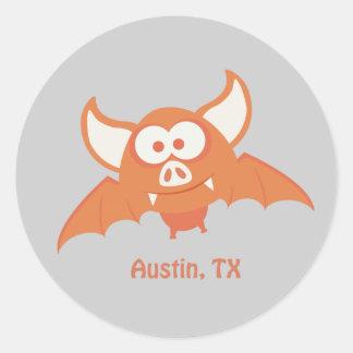 Orange Bat - Austin, TX Classic Round Sticker