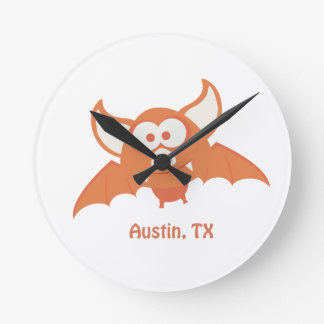 Orange Bat - Austin, TX Round Clock