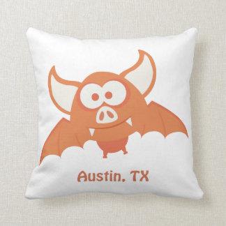 Orange Bat - Austin, TX Throw Pillow