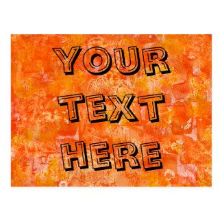 Orange Batik Style Watercolors Postcard