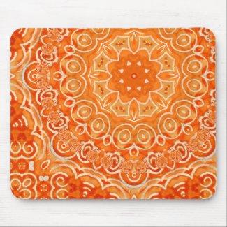 Orange Batik Watercolor Mandala mousepad
