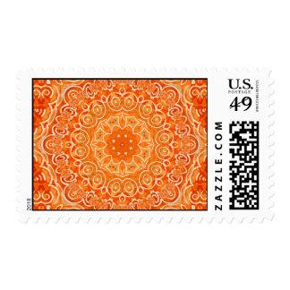 Orange Batik Watercolor Mandala Postage Stamp