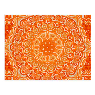 Orange Batik Watercolor Mandala Post Cards