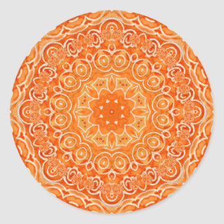 Orange Batik Watercolor Mandala Round Stickers