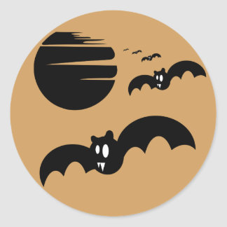 Orange Bats and Moon Sticker