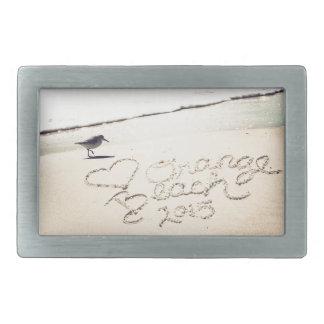 Orange Beach Alabama Sandwriting Beach Waves Words Belt Buckles