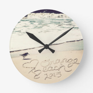 Orange Beach Alabama Sandwriting Beach Waves Words Round Clock