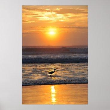 Beach Themed Orange Beach Sunrise Bird Fishing Florida Poster