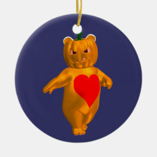 Orange Bear Ceramic Ornament