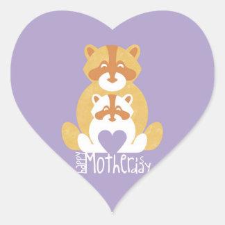 Orange bear mom heart sticker