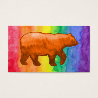 Orange Bear on Rainbow Wash Business Card
