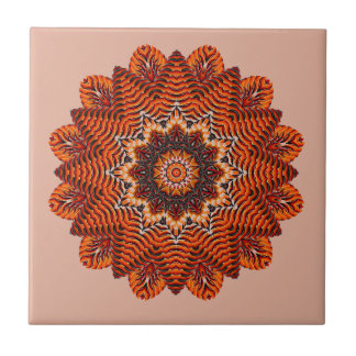 Orange Beauty Textured Mandala Ceramic Tile