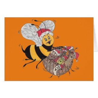 Orange 'Bee Merry' Christmas Card