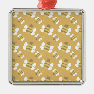 Orange Bee Seamless Pattern Ornaments