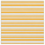 [ Thumbnail: Orange & Beige Colored Lined Pattern Fabric ]