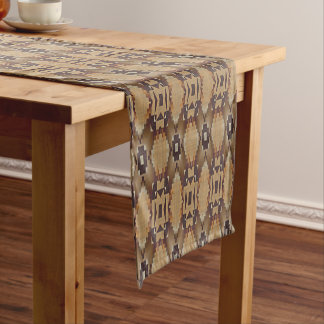 Orange Beige Taupe Brown Eclectic Ethnic Look Short Table Runner