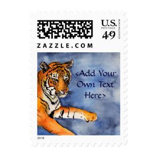 Orange Bengal Tiger Art Postage Stamps