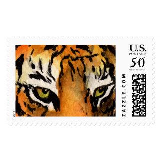 Orange Bengal Tiger Eyes Art Postage Stamp