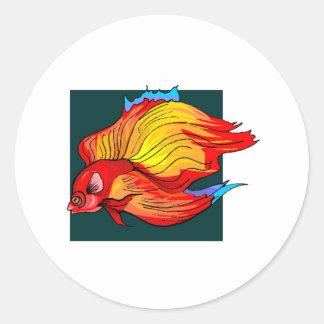 Orange Betta Fish Round Sticker