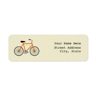 Orange Bicycle Address Label