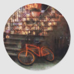 Orange Bicycle by Brownstone Classic Round Sticker