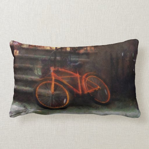 Orange Bicycle by Brownstone Pillow