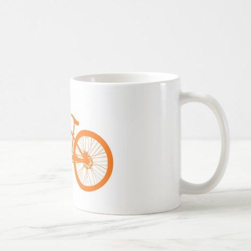 Orange bicycle coffee mug