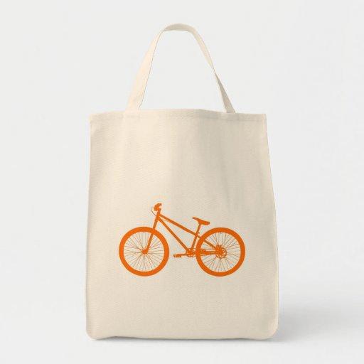 Orange bicycle grocery tote bag