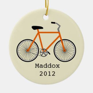Orange Bicycle Personalized Ornament