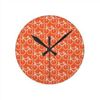 orange bicycle round wall clocks