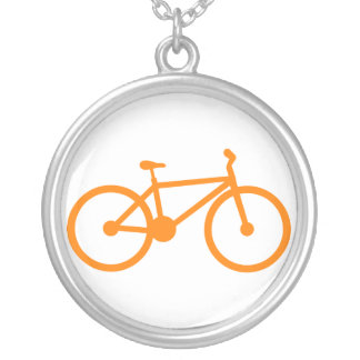 Orange Bicycle Silver Plated Necklace