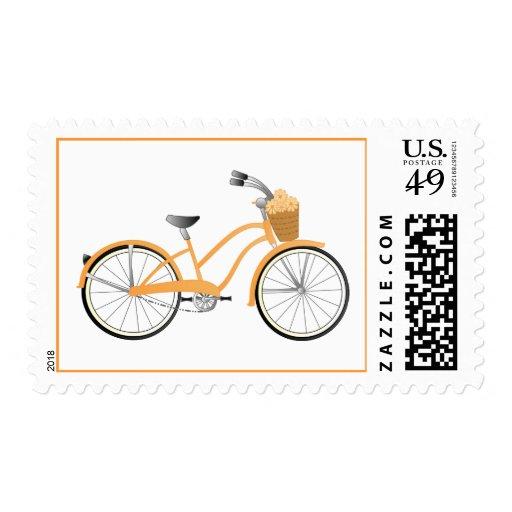 Orange Bicycle Stamp