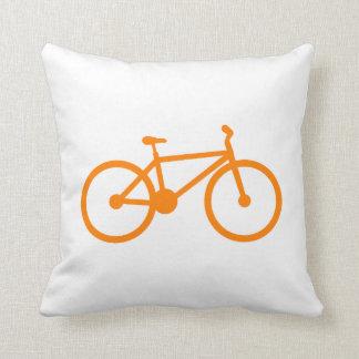 Orange Bicycle Throw Pillow