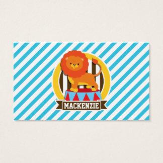 Orange Big Top Circus Lion; Blue & White Stripes Business Card