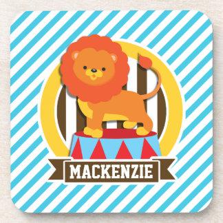Orange Big Top Circus Lion; Blue & White Stripes Drink Coasters