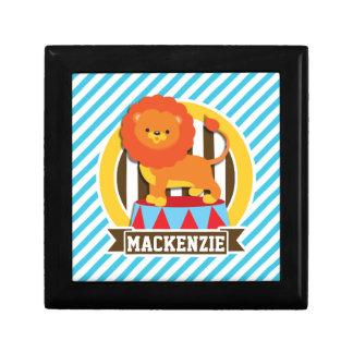 Orange Big Top Circus Lion; Blue & White Stripes Gift Boxes