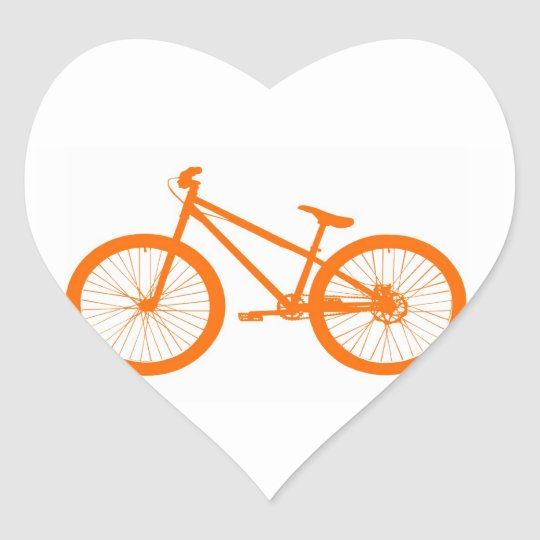 Orange Bike Heart Sticker
