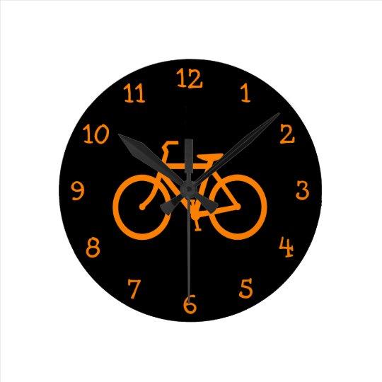 Orange Bike Round Clock