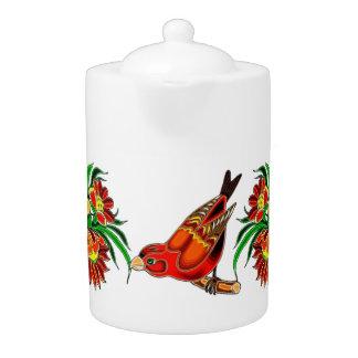 Orange Bird and Floral Deco Teapot