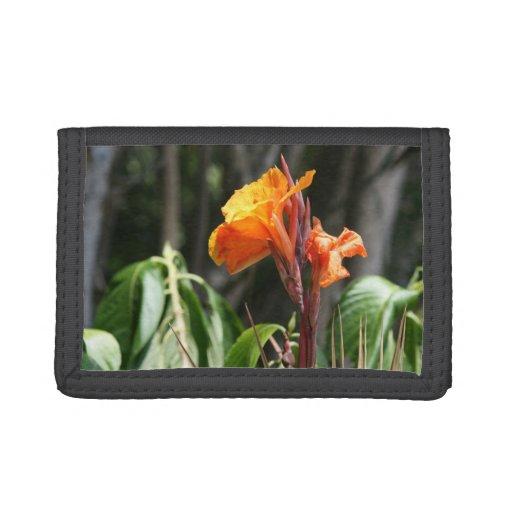 orange bird of paradise flower tri-fold wallets