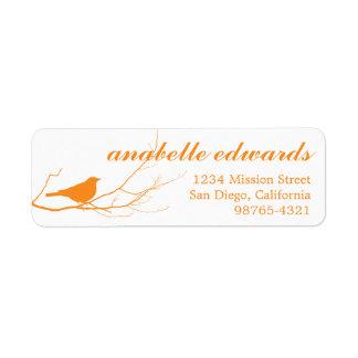 Orange bird on branch modern custom return address label