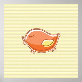 Orange Bird on Yellow Striped Background Poster