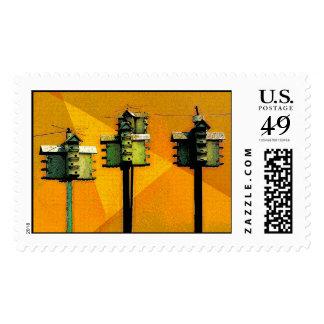 Orange Birdhouses Postage